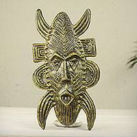 African ceramic mask, 'Poro Rite' - African Fair Trade Ceramic Mask in Senufo Style
