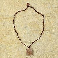 Soapstone pendant necklace, 'Antique Brown' - Soapstone Pendant on Hand Knotted Necklace from Ghana
