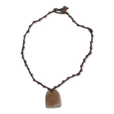 Soapstone Pendant on Hand Knotted Necklace from Ghana