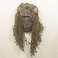 African wood and jute mask, 'Baule Gbekre II'