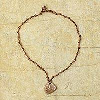Soapstone pendant necklace, 'Victorious' - Aged Soapstone Pendant on Artisan Crafted Necklace
