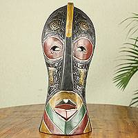 African wood mask, 'Mantse' - Original Design African Wood and Metal Decorative Wall Mask