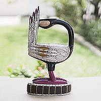 African wood carving, 'Red Sankofa' - African Tribal Wood Bird Carving with Metal Accents