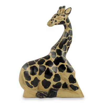 African Artisan Crafted Fair Trade Wood Giraffe Sculpture