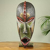 African wood mask, 'Hye Wonnye' - Hand Carved Wood Mask Embellished with Metal Accents