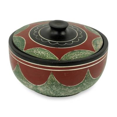 Decorative wood bowl, 'Adipaa' - African Decorative Carved Wooden Bowl with Lid