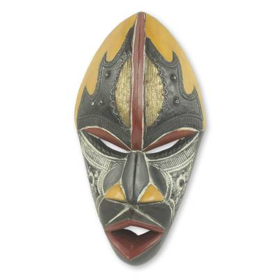 African wood mask, 'The Face of Happiness' - Colorful Hand Carved and Painted Ghana African Mask