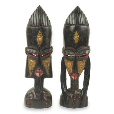African wood mask sculptures, 'Meedo' (pair) - Hand Carved African Male and Female Masks (Pair)