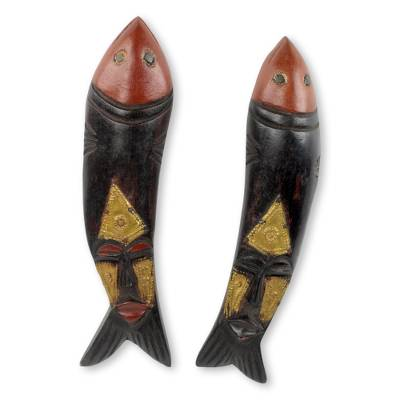 African wood masks, 'Brother Fish' (pair) - Artisan Crafted Fish Theme African Masks (Pair)