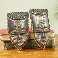 African wood mini masks, 'Passport' (pair)