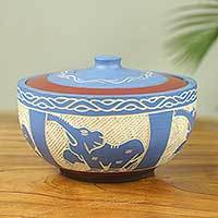 Decorative wood bowl, 'Elephant' - Elephant Themed Handmade Lidded Blue Decorative Wood Bowl