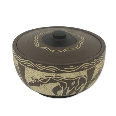 Decorative wood bowl, 'Giraffe' - Hand Carved and Painted Wood Giraffe Motif Bowl and Lid