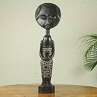 African wood sculpture, 'Akatesia Doll' - Original Artisan Designed African Wood Doll Sculpture