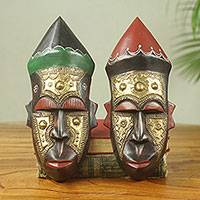 African wood masks, 'Akan Chief I' (pair) - Embossed Brass and Wood African Handmade Masks (Pair)
