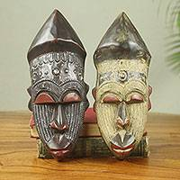 African wood masks, 'Akan Chief II' (pair) - Ghanaian Hand Made Sese Wood Masks with Metal (Pair)