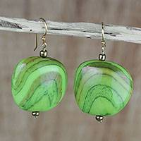Recycled plastic dangle earrings, 'Lorlornyo in Green' - Green Recycled Plastic Dangle Earrings from Ghana