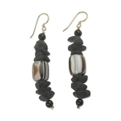 African Earrings Crafted by Hand with Recycled Beads