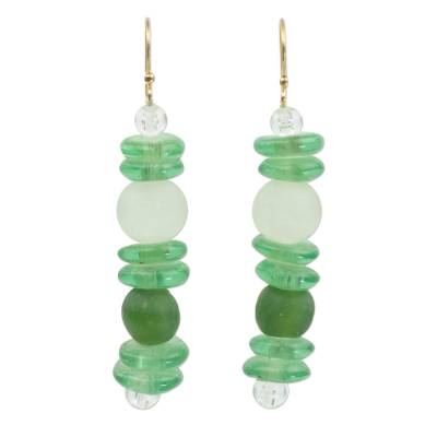 Recycled glass dangle earrings, 'Dziedzorm' - Green Beaded Earrings from Africa Fair Trade Jewelry