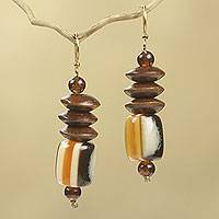 Wood beaded earrings, 'Edinam'