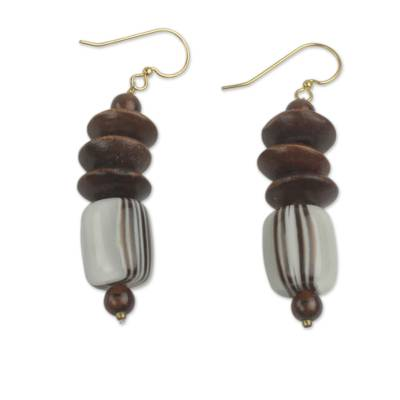 African Fair Trade Jewelry Recycled Beads and Wood Earrings