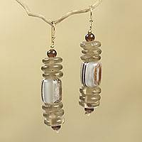 Beaded earrings, 'Xose in Beige' - African Earrings Crafted by Hand with Recycled Beads