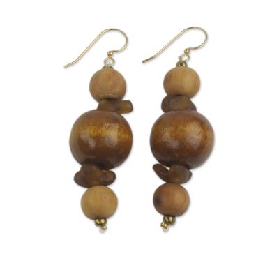 Wood beaded earrings, 'Dzidudu' - Wood Beaded Dangle Earrings Artisan Crafted Jewelry