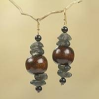 Wood beaded earrings, 'Dzidudu in Dark Brown' - Recycled Beads and Wood Dangle Earrings