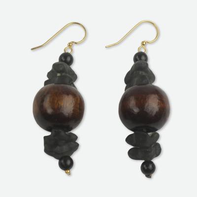Wood beaded earrings, 'Dzidudu in Dark Brown' - Recycled Beads and Wood Dangle Earrings