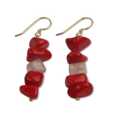 Agate dangle earrings, 'Red Velvet' - Red Agate Handcrafted African Dangle Earrings