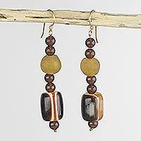 Recycled glass dangle earrings, 'Destiny Loves Me' - Yellow African Handcrafted Eco Friendly Earrings