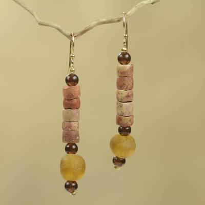 Bauxite beaded earrings, 'Earth's Warmth' - Bauxite Earrings Crafted by Hand with Recycled Beads