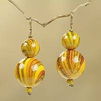 Beaded earrings, 'Dzidzo in Yellow' - Hand Crafted Yellow Beaded Earrings Recycled Art