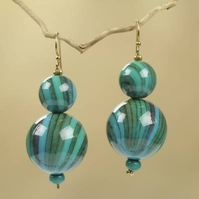 Beaded earrings, 'Dzidzo in Green' - African Earrings Crafted by Hand with Recycled Beads