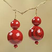Beaded earrings, 'Dzidzo in Red'
