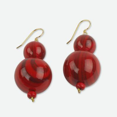 Beaded earrings, 'Dzidzo in Red' - Red Beaded Earrings Hand Crafted with Recycled Beads