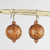 Wood dangle earrings, 'Blessed' - Wood Beaded Dangle Earrings Artisan Crafted Jewelry
