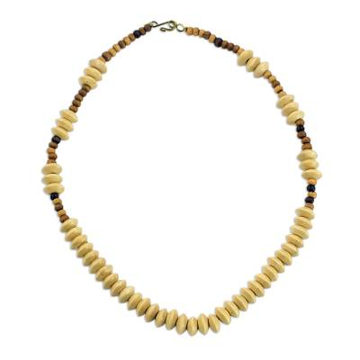 Wood beaded necklace, 'Nubueke in Brown' - Wood Beaded Necklace African Artisan Crafted Jewelry