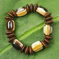 Wood stretch bracelet, 'Destiny Provides for Me' - Recycled Bead Eco Friendly Wood Bracelet