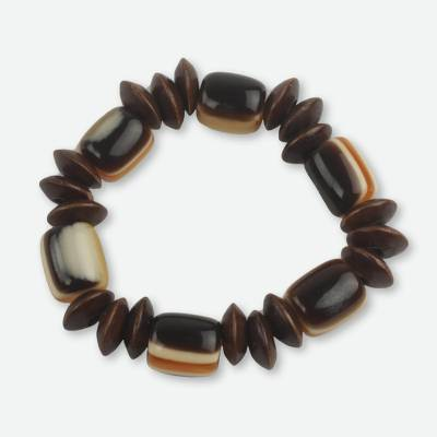 Recycled Bead Eco Friendly Wood Bracelet