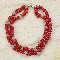 Agate beaded necklace, 'Red Velvet'