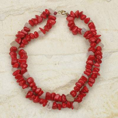 Agate beaded necklace, 'Red Velvet' - Red Agate Handcrafted African Beaded Necklace