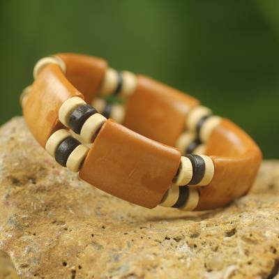 Wood stretch bracelet, 'Butterscotch Connection' - Recycled Plastic Wood Eco Friendly Bracelet from Africa