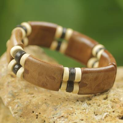 Wood stretch bracelet, 'Coffee Connection' - Eco Friendly Wood and Recycled Bead Bracelet from Ghana