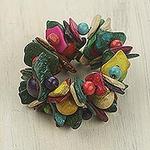 Handmade Wide Beaded Colorful Wood Stretch Bracelet, 'Festival'