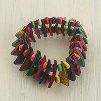Wood and coconut shell stretch bracelet, 'Happy Mix' - Handmade Wood and Coconut Shell Stretch Bracelet from Ghana