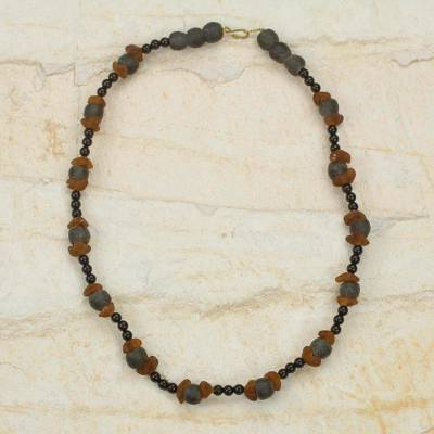 Recycled glass beaded necklace, 'Akan Akoma' - Handcrafted Eco Friendly African Beaded Necklace