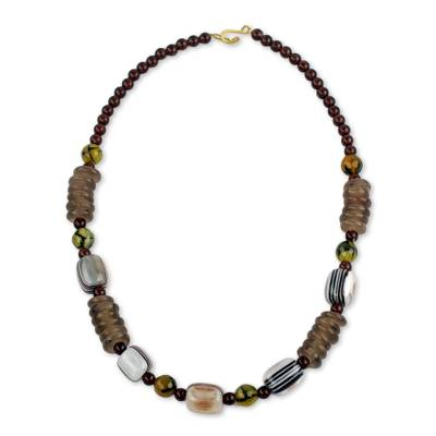 African Necklace Crafted by Hand with Recycled Beads