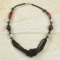 Agate and wood beaded necklace, 'Unity Knot' - Artisan Crafted West African jewellery Beaded Necklace
