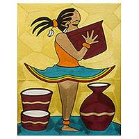 Threadwork art, 'Ama II' - Handmade Threadwork Art of Young African Girl with Bowl