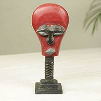 African wood mask sculpture, 'Oluman Sakora' - Handmade Red and Black African Wood Mask Sculpture